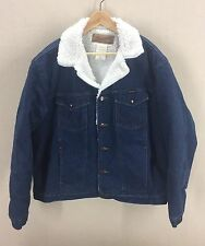 Vintage Wrangler Dark Blue Sherpa Lined Denim Jacket~Sz XL~Jean Coat