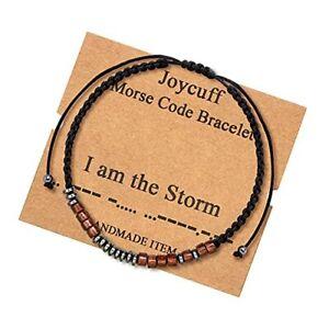 Inspirational Morse Code Bracelets for Men Women Boys Girls I am the storm