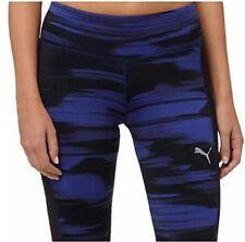NEW WOMENS LARGE PUMA BLUR CAPRI TIGHT WORKOUT YOGA LEGGINGS PANTS BLUE BLACK