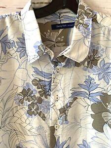 GEORG ROTH Mens Size XXXL 3XL Floral Aloha Hawaiian Long Sleeve Shirt White Blue