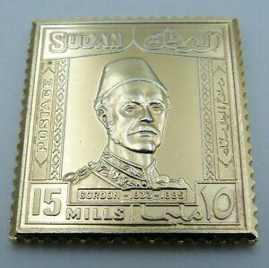 Solid Silver Gilt Stamp Ingot - British East Africa - KUT - Sudan 15 Mills 1935