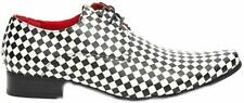 Mens Black & White Chessmaster Leather Lined Fancy Dress Party Shoes UK 7- 12