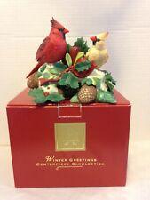 Lenox Winter Greetings Cardinal Centerpiece Candlestick NIB - Rare