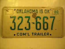 COM'L TRAILER TAG License Plate 1980 OKLAHOMA #323667 [Y59C5]