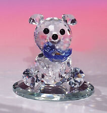 Mini Collection Crystal World Bear Blue Flower Figure