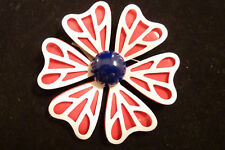 VINTAGE ENAMEL FLOWER BROOCH RED WHITE AND BLUE