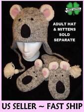 ADULT KOALA MITTENS gray bear FLC LINED puppet KNIT grey animal mens womens mitt