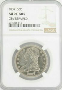 1837 50C Capped Bust, NGC AU Details Obv Repaired