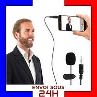Micro cravate jack 3.5 mm noir 150 cm lapel microphone avec pince Android Apple