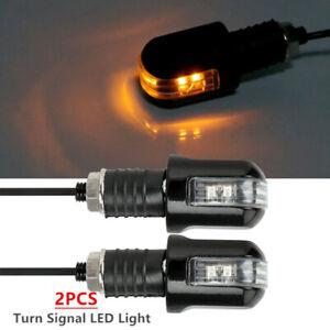 2PCS 12V Motorcycle Turn Signal LED Light Indicator Blinker End Handlebar Kit
