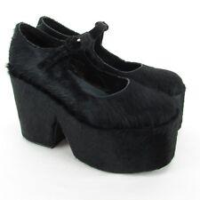 Free People Jeffrey Campbell Cow Hair/Fur Leather Buckle Strap Platform Heels