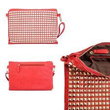 New Womens Handbag Ladies Clutch Studded Shoulder Pyramid Strap Faux Leather