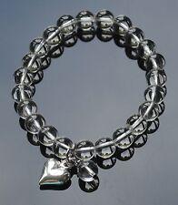 Clear Quartz Bead Bracelet with Silver Heart