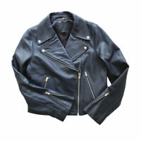 J. Crew Collection Leather Moto Jacket Navy Blue Motorcycle Zipper Size 10