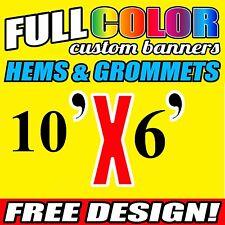 Custom 10' x 6' FT Banner 16oz Vinyl/Flex Outdoor premium Quality Advertise Sign