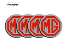 MGF MG TF LE500 Alloy Wheel Hub Cap Centre Badges Styled Red & Silver 55mm