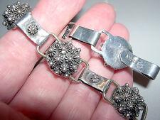 """Vtg Sterling Silver Cannetille Rose Dome Link Bracelet~6.5""""~Eagle 2~MEXICO~19G"""