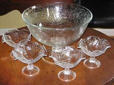 Southern Living At Home VICTORIA PRESSED GLASS SERVING BOWL #40590 & 4 COMPOTES