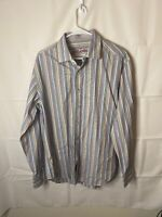 Robert Graham shirt L green purple striped embroidered flip cuff button front