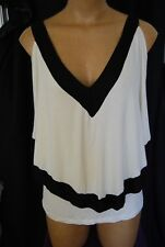 Size XL Tank top Open Shoulder Batwing Overlay Ivory with Black Trim. NWT RP $39