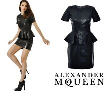ALEXANDER McQUEEN - Black LEATHER Peplum dress ~ size: M ; 42 * AUTHENTIC