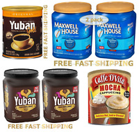 Yuban , Maxwell House Ground Coffee,  Caffe D'vita Instant Mocha 48, 42.5, 64 oz
