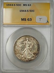 1944-S Walking Liberty Silver Half Dollar 50c ANACS MS 63 (Toned)