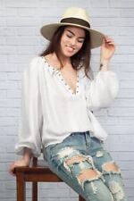 170224 NEW Free People Against All Odds Long Sleeve Ivory Blouse Top Large L