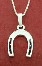 Sterling Silver Horseshoe Necklace solid 925 Charm Pendant and chain horse shoe