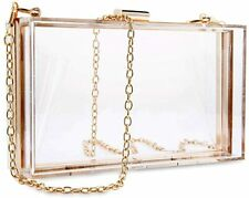 Women Clear Purse Acrylic Clear Clutch Bag Shoulder Handbag Removable Gold Chain