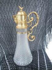 Antique Victorian Claret Pitcher, Pressed Glass, ornate Brass Handle & Lid
