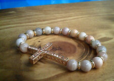 Gold Champagne Crystal Cross Crucifix Bracelet Ladies Christian Bracelet UK