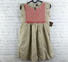 Tea Collection Girls Size 10 Short Sleeve Dress Embroidered Chai Shimmer