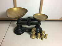 Vintage Librasco Libra Scale Brass & Cast Iron Kitchen Scales W/ Weights - Prop