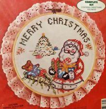 1986 COLORTEX Cross Stitch Kit 3757 Merry Christmas Santa with Bear & Tree *NEW*
