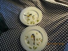 "Fitz and Floyd- Set of Two (2)-7 1/2"" "" Oiseau""-Hand Painted Bird Plates"