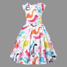 New Girls Holiday Sleeveless Dinosaur Print Mini Party Dress Kids Baby Dresses