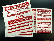 CCTV WARNING STICKERS  - Remote recording CCTV - USEFUL MIXED PACK OF TEN