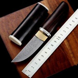 Straightback Knife Hunting Tactical Combat Damascus Steel Wood Handle Handmade S