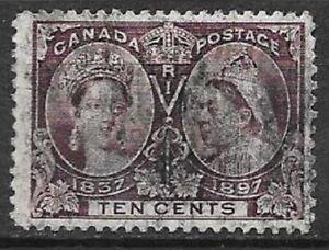 Canada 1897 Diamond Jubilee 10c brown violet Sc 57 very nice stamp see scans