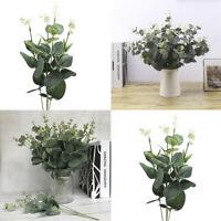 Artificial Eucalyptus Branch Plant Green Leaves Fake Silk Flower Home Decor 1Pcs