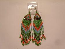 Ohrring mit grün blau orange Bronze Perlchen Indianerschmuck  süsss 340