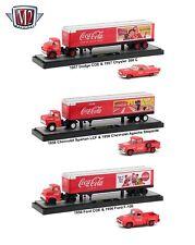 "AUTO HAULERS ""COCA-COLA"" 3 TRUCKS SET 1/64 DIECAST BY M2 MACHINES 56000-50S01"