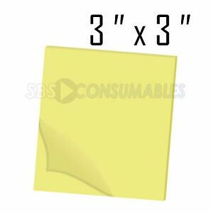 """12 Pads of 100 - 3""""x3"""" Yellow Sticky Notes / Square Memo Pads. 75mm x 75mm."""