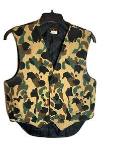 Vintage Deerskin Camo Hunting Vest USA Made Large