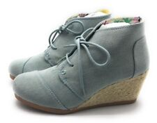 Qupid Womens Olee-11 Rex Lace Up Ankle Wedge Booties Light Blue Denim 7 M US