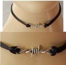 Barbed Wire Choker Necklace Handmade Silver Black Fashion NEW Collar Women
