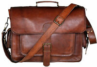 VH Men's Genuine Vintage Brown Leather Messenger Shoulder Briefcase Laptop Bag