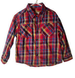 Cherokee Boys Red Blue Plaid Long Sleeve Button Down Cotton Shirt Top Sz XS 4/5