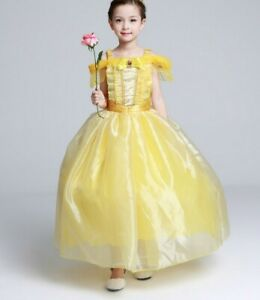 Girls Dresses Costume Princess Belle Dress FREE Magic Wand and Crown SZ 2-10 Yrs